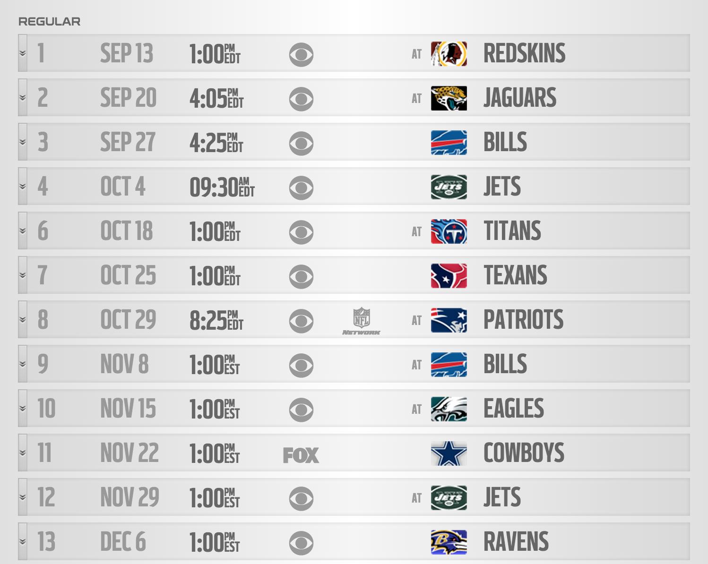 2015 Miami Dolphins Regular Season Schedule