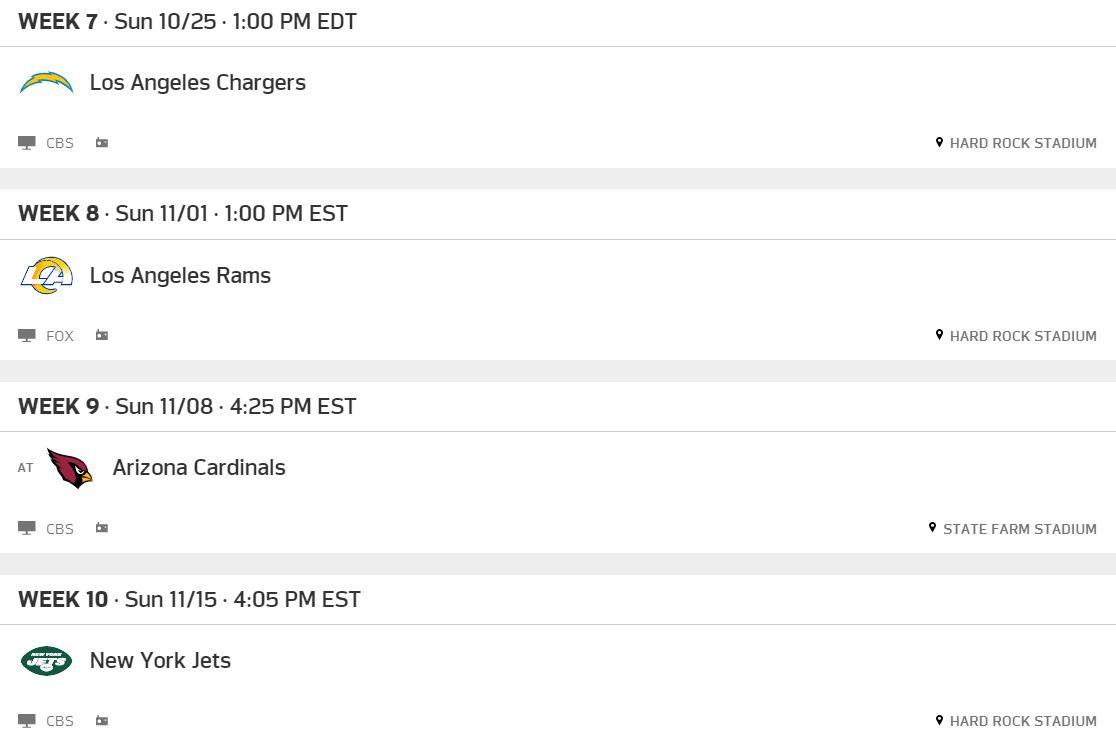 Miami Dolphins 2020 Schedule