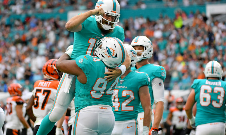 Christian Wilkins and Ryan Fitzpatrick Miami Dolphins