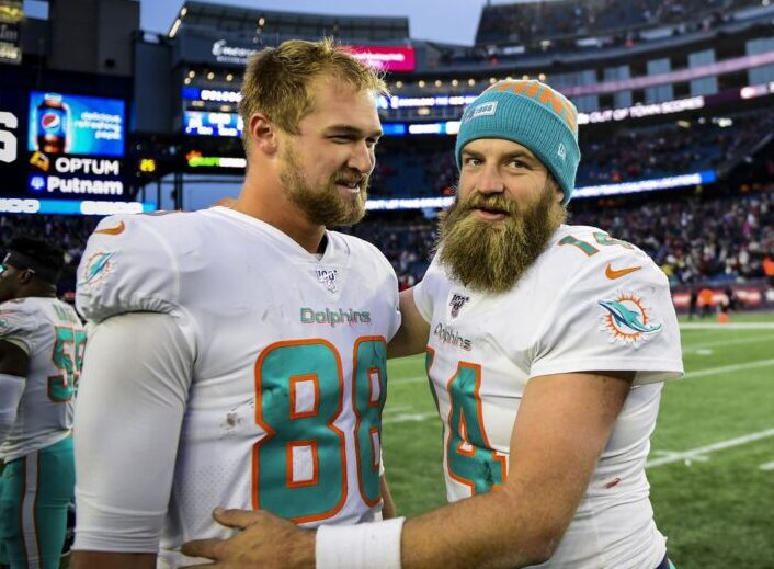 Mike Gesicki and Ryan Fitzpatrick