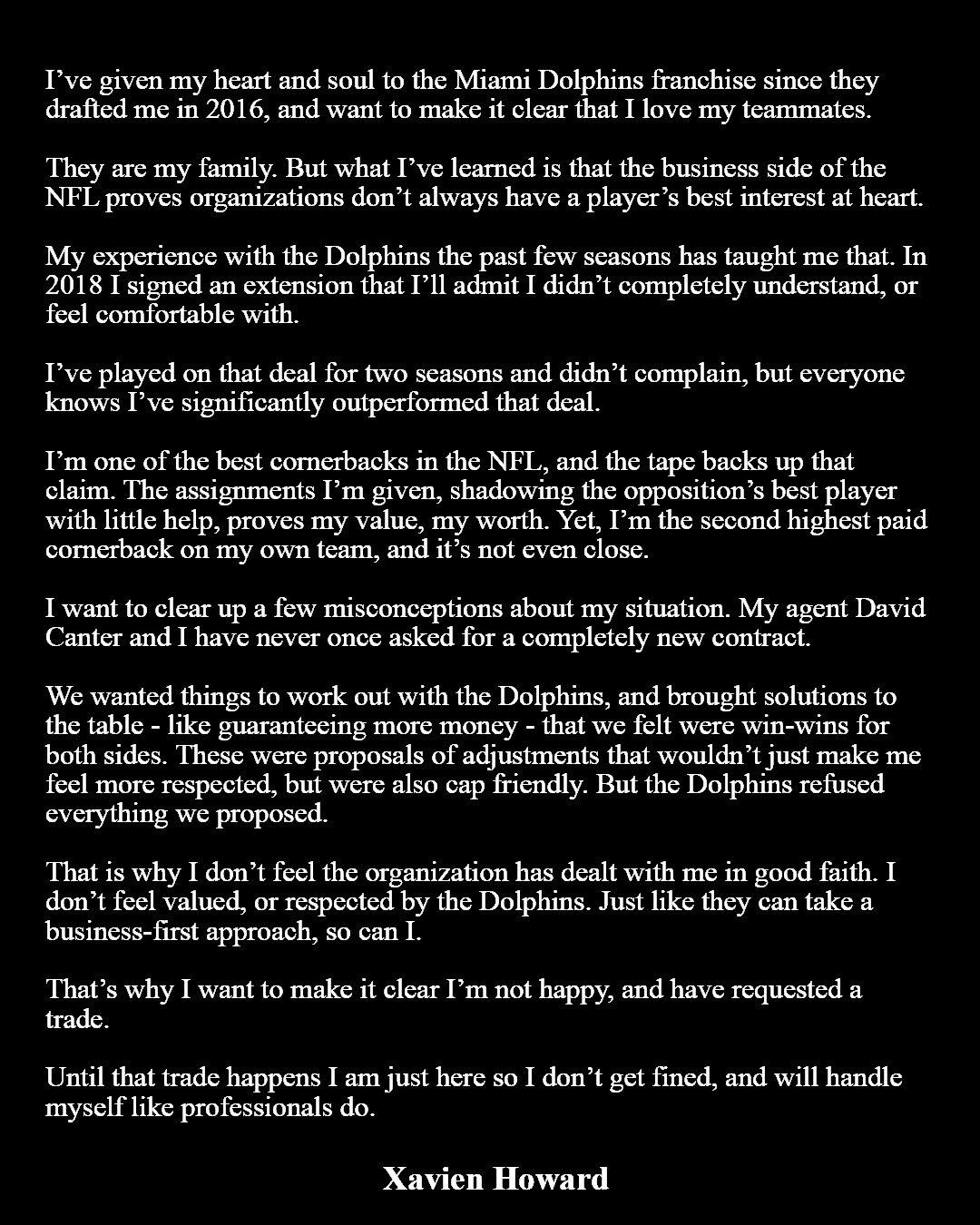 Xavien Howard Statement